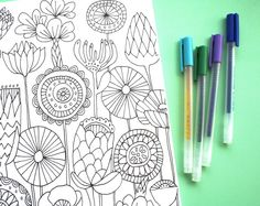 adult-coloring color book card flowers gel pen