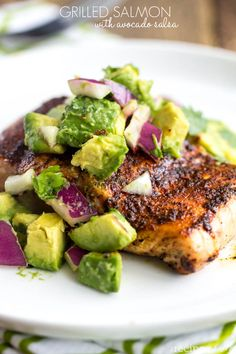 grilled salmon salsa avocado. Looks so damn good. Definitely going to make this. Plus anything with avocados makes me automatically love it. :)