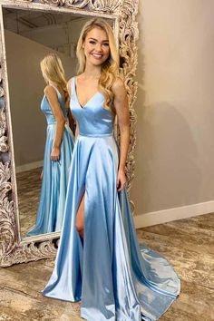 Light Blue V Neck Simple Prom Gown, A Line Sleeveless Formal Dress with Train N1708 – Simibridaldress