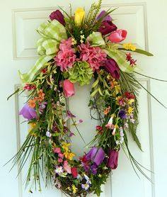 Oval Grapevine Wreath, Spring And Summer, Motheru0027s Day Gift, Lime Green  Bow, Gingham Ribbon, Front Door Wreath, Purple, Pink, Green, Yellow