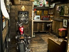 The Perfect Accessories for Every at-Home Bar - Man Cave Home Bar Motorcycle Storage Shed, Motorcycle Workshop, Bike Shed, Motorcycle Garage, Motorcycle Gifts, Barn Storage, Diy Garage Storage, Storage Ideas, Cave Images