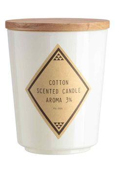 Geurkaars in glazen houder - Wit/Cotton - HOME   H&M BE 1