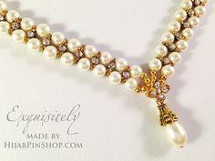 Pearl Rhinestone Chain hijab headpiece only at hijabpinshop.com