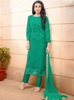 Karisma Kapoor Green Georgette Pant Style Straight Cut Suit 88221