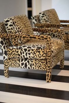 leopard parsons chairs + black & white striped floors by jody