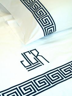 Greek Key Embroidery Bed Linens-Greek Key Sheets-Monogram Bed Linens