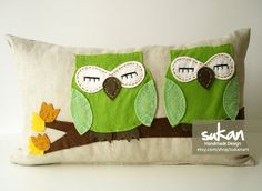 Sukan / Green Owls Beige Linen Pillow Cover  by sukanart on Etsy, $52.95