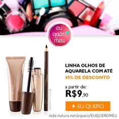 Linha  olhos de #Aquarela por #Natura com até 45% de desconto! a partir de R$ 9,90  Link para a loja Online: http://rede.natura.net/espaco/EUQUEROMEU/nossos-produtos/promocao-do-dia-cat780001?_requestid=5733172  (y) Curta nossa fanpage e fique por dentro das promoções: facebook.com/euqueromeu <3 Instagram:@euqueromeu <3 pinterest.com/euqueromeu/ <3 Loja Natura Online: rede.natura.net/espaco/EUQUEROMEU