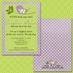 """Perfect invitations for a birdy baby shower so """"tweet"""""""