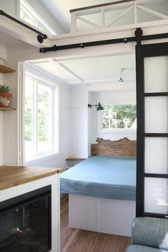 Pacific Pearl tiny home on wheels by Handcrafted Movement - Bedroom Tiny House Movement // Tiny Living // Tiny House Living Room // Tiny Home Kitchen // Tiny House Bedroom, Tiny House Living, Home Living Room, Small Living, Tiny Bedrooms, Rv Living, Tiny House Trailer, Tiny House Plans, Tiny House On Wheels