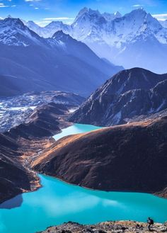 Sagarmatha National Park, Nepal. Beautiful blue water surrounded by mountains. Perfect place for adventurer.