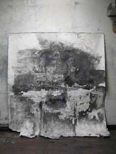 "Matthew Woodward's large scale drawings are truly examples of ""beautiful decay"" with violently drawn, torn, erased, and collaged decorative motifs that one would find on old industrial buildings of yesteryear. These floral and elaborate patterns and flourishes are taken through an intense process of aging where Woodward attacks the surface like an artistic jackhammer mining the paper for undiscovered imagery."