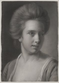 Portrait of a Woman, Her Head Turned to the Right, Wearing an Earring, ca. 1770–72 Joseph Wright (Wright of Derby) (British, 1734–1797) Grisaille pastel on blue laid paper (2007.40)