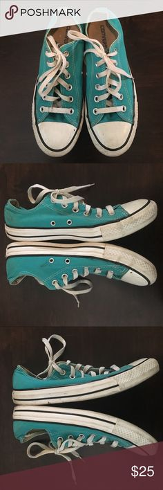 Converse- Blue/Green Sneakers SZ 6 Men's (8 Wms) Converse- Blue/Green Sneakers SZ 6 Men's (8 Women's). Preloved but still lots of life. See detail pics of marks, signs of wear. Namely light dark mark on the inner right shoe, dirt spot on the back left heel. Converse Shoes Sneakers