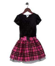 Another great find on #zulily! Joe-Ella Black & Fuchsia Plaid Drop-Waist Dress - Infant, Toddler & Girls by Joe-Ella #zulilyfinds