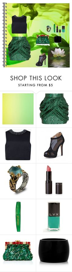"""Green Wonderland"" by oksana-kolesnyk ❤ liked on Polyvore featuring Designers Guild, Balmain, Ted Baker, Emma Chapman, New Look, Rimmel, LVX, Dolce&Gabbana and Alexander McQueen"