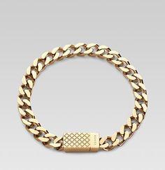 Gucci gold Bracelet for men | Essentials (men's accessories) http://www.pinterest.com/davidos193/