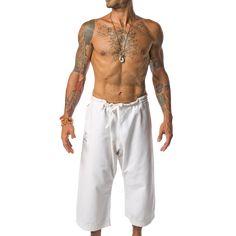 Men's Yoga Pants. White Organic Cotton Yoga Pants by YOGiiZA