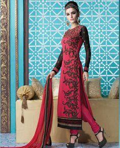 Buy Beautiful Red & Black Straight Cut Salwar Kameez online at  https://www.a1designerwear.com/beautiful-red-black-straight-cut-salwar-kameez  Price: $54.50 USD