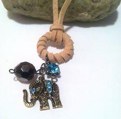 Suede Lace Aqua Elephant charm necklace (elephant, gunmetal bead, blue rhinestone) by HomeGrownCreationz on Etsy