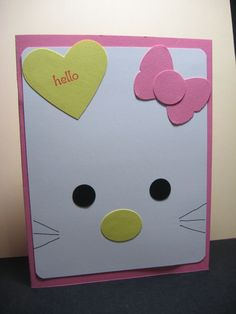 simple hello kitty card - might have to do for birthday card for girl may do for national card swap day ideas Kids Cards, Baby Cards, Anniversaire Hello Kitty, Tarjetas Diy, Girl Birthday Cards, Diy Birthday, Birthday Ideas, Happy Birthday, Punch Art Cards