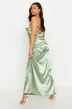 Womens Plus Satin Cowl Neck Maxi Dress - green - 14 Maxis, Bodycon Fashion, Women's Fashion, Maxi Robes, Costume, Satin Dresses, Dresses Dresses, Latest Dress, Green Dress