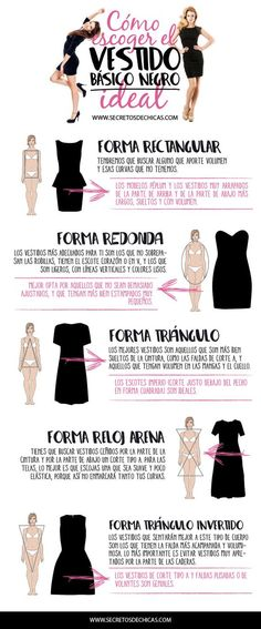 How to choose the ideal black dress? Today I bring you some tips to learn to know which one favors us the most. I hope Xl Mode, Looks Style, My Style, Fashion Vocabulary, Personal Image, Personal Stylist, Mode Inspiration, Fashion Stylist, Body Shapes