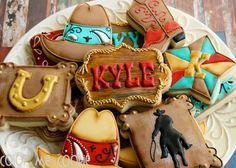 Western Cookies~     by Color Me Cookie, Brown, yellow, red, cowboy boots, cowboy hat, star, horse shoe