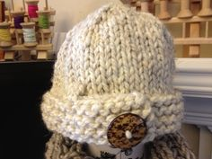 $28  Big Button Hat in Oatmeal