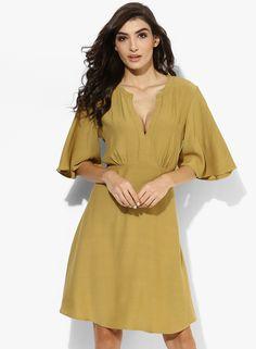 93c6b5a7b101 Buy MANGO Mustard Yellow Printed Flared 3 4Th Sleeves Skater Dress Online -  3240731 - Jabong