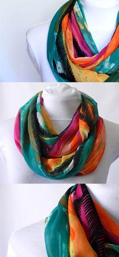 Colourful Infinity Scarf/ Chiffon Lightweight/ Fall scarf/ by Zaleon