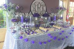 Pretty dessert table at a purple glam wedding party! See more party ideas at… Wedding Candy Table, Wedding Desserts, Wedding Favors, Wedding Decorations, Wedding Ideas, Purple Party Decorations, Wedding Tables, Baby Shower, Shower Party