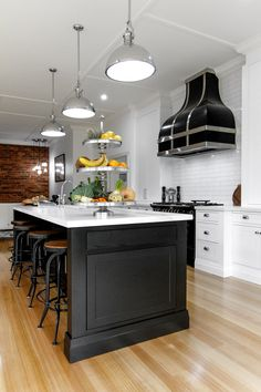 Industrial lighting supplied by Lighthouse and co Hamptons Kitchen, The Hamptons, Induction Range Cooker, Industrial Lighting, Lighthouse, My House, Places To Go, Kitchens, Table
