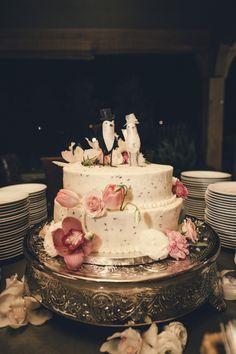 Bird Topper Wedding Cake - Asheville Event Co.  Lavender cake