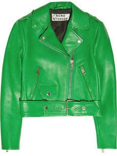 Green leather jacket by Acne...obsessed.