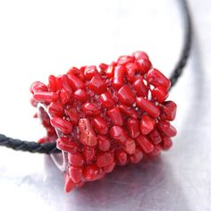 Red Coral Pendant  Cylinder Shaped Pendant by JewelryByMondaen, $45.00
