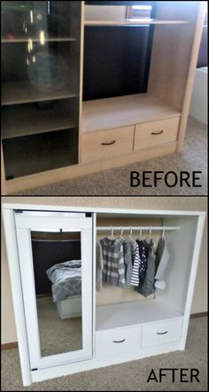 Here's a nice idea for the kids, especially the girls – an old entertainment center turned into a dress up closet!  http://diyprojects.ideas2live4.com/2016/01/19/turn-an-entertainment-center-into-a-kids-armoire/  We've already featured a DIY play kitchen out of an old entertainment center, but this is a repurposing project you can do if your youngsters enjoy dressing up more than cooking!  If you've got a very large entertainment center, you can even use it as your kid's 'real' closet. :)
