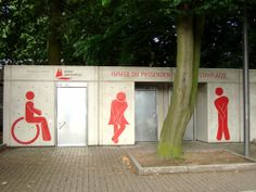 Wayfinding and Typographic Signs - toilet-cologne-stadium