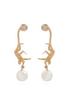 MARC ALARY DIAMOND, PEARL & PINK-GOLD EARRINGS. #marcalary #