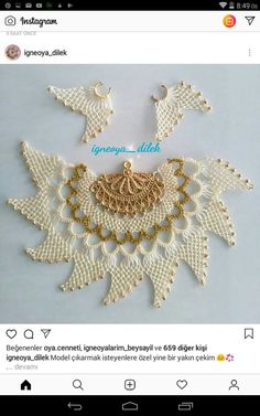 Untitled Crochet Doily Patterns, Crochet Doilies, Embroidery Art, All About Fashion, Elsa, Crochet Earrings, Chokers, Jewelry, Instagram