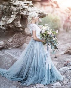 Wedding Gown This ice blue tulle skirt separate makes us swoon! This modern alternative to a traditional wedding gown has us giddy with excitement. This look would work perfectly for a winter wedding inspiration. Blue Wedding Dresses, A Line Prom Dresses, Tulle Prom Dress, Wedding Shoes, Dress Lace, Wedding Dress Blue, Evening Dresses, Dress Party, Formal Dresses