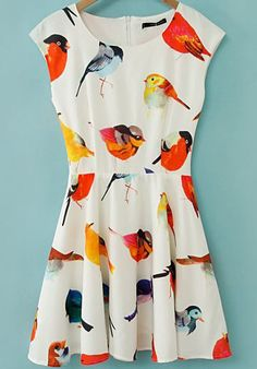Beige Cap Sleeve Birds Print Flare Short Dress US$24.34 #ladies