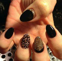 Gold glitter, nude, black, cheetah, leopard, almond, stiletto, acrylic nails