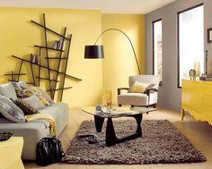 Wohnzimmer Wandfarbe in Gelb