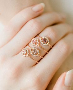 Our sweet limited edition blush sapphire Periphery rings in rose gold were just Stylish Rings, Stylish Jewelry, Fine Jewelry, Women Jewelry, Jewelry Gifts, Jewelery, Jewelry Accessories, Chanel Jewelry, Antique Jewellery Designs