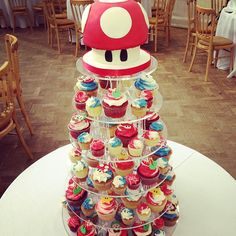 Super mario wedding cake cupcake tower, Photo and cupcakes by crumbs and doilies London