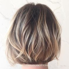 #21: Soft Bronde Hair with Short Layers For a really natural balayage look, ask your stylist for full, blended highlights. Keeping the hair darker on the roots