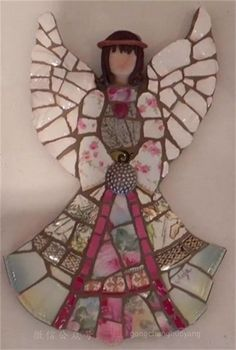 Angel by Anja Hertle ~ Maplestone Gallery ~ Contemporary Mosaic Art by jaime Mosaic Crafts, Mosaic Projects, Mosaic Art, Mosaic Glass, Mosaic Tiles, Art Projects, Mosaic Designs, Mosaic Patterns, Christmas Mosaics
