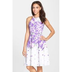 Adrianna Papell Garden Party Print Crepe Fit