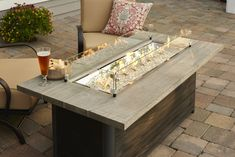 The Cedar Ridge Linear Gas Fire Pit Table will certainly impress friends and family with its versatile design. It can house a standard 20 lb propane tank. Fire Pit Coffee Table, Outdoor Fire Pit Table, Gas Fire Pit Table, Diy Coffee Table, Outdoor Living, Diy Table, Diy Propane Fire Pit, Diy Fire Pit, Garden Fire Pit